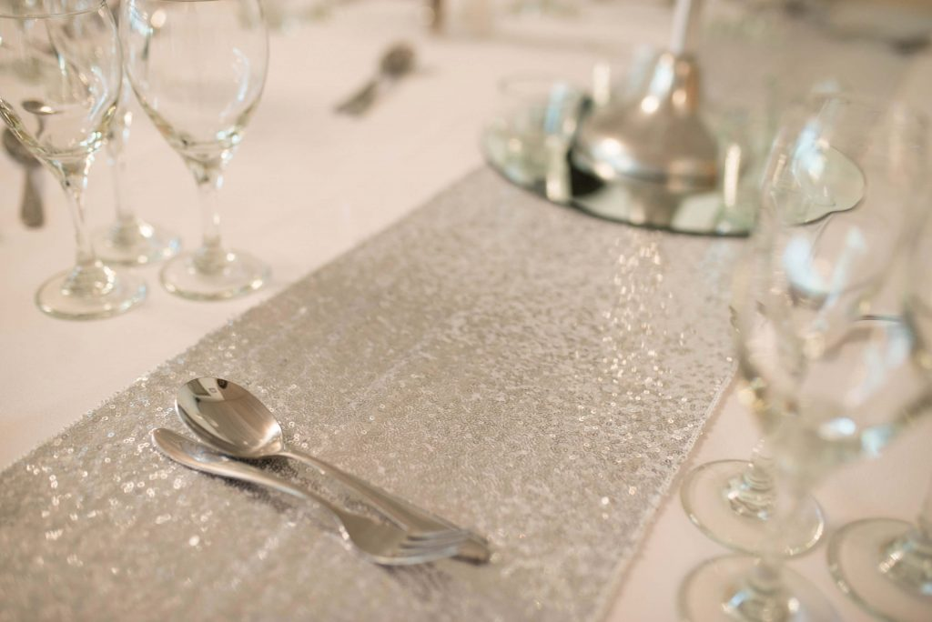 table setting with cutlery & glasses