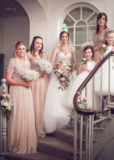 Bridal Party at Warwick House on Staircase